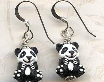 Perfect Pandas Sterling Silver Earrings