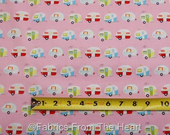 Camping Travel Trailers Tear Drop Glamper-licious on Pink BY YARDS Riley Fabric