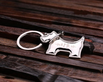 Personalized Monogrammed Schnauzer Dog Charm Key Chain for Women, Girlfriend, Birthday Mother's Day Gift Idea with Wood Gift Box