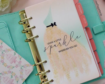 "Planner DASHBOARD, A5, Personal, Half-Letter: ""Leave a Sparkle Wherever You go"" with Peach & Mint Ombre background, 5-mil Laminated"