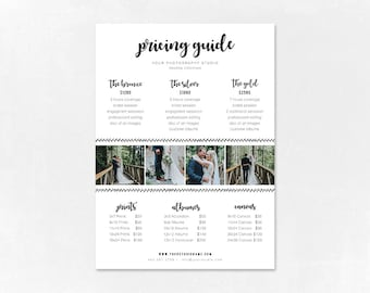 Photography Pricing Template - Price Guide List for Photographers - Wedding Photographer Photo Price Sheet - Price Guide - PG009