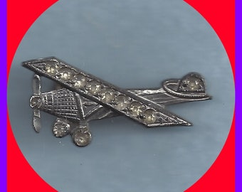 Rare Antique Shoe Buckle Rhinestone Studded Single Propeller Airplane Early 1900's
