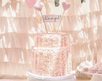 It's a Girl Baby Shower Cake Topper with Crochet Hearts for Baby Shower Party