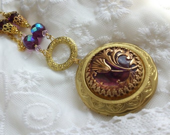 Art glass button locket necklace Victorian purple gold flowers