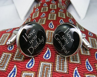 I love you Daddy - I love you Grandpa - Cufflinks - Unique Gift Ideas - For Him - Mens Jewellery - Announcement - Cuff links - Accessories