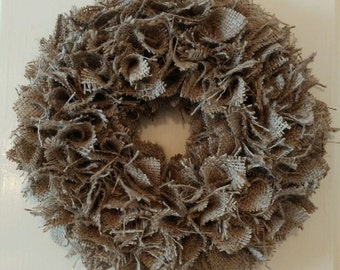 "Burlap wreath, country, rustic fall wreath 10"""