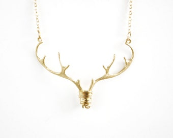 Gold Antler Necklace, Deer Necklace, Stag Pendant, Country wedding