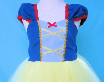 SNOW WHITE dress, TUTU dress, girls princess costume in large sizes 7/8 10/12