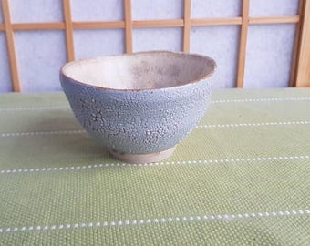 Light grey and beige chawan, teabowl for the Japanese tea ceremony