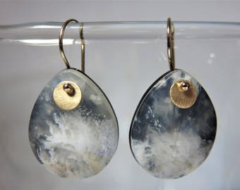 Natural Regency Plume Agate w/ Black Jade smooth Pear Drops,14K Solid Yellow Gold Earwires and Discs Earrings