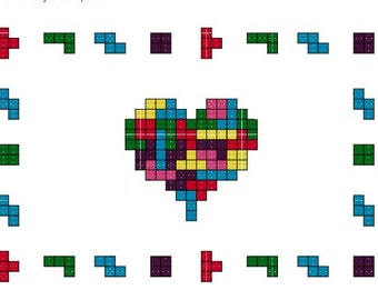 Tetromino Love Heart - PDF Cross Stitch Pattern