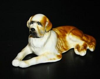 Saint Bernard dog porcelain figurine handmade  statuette