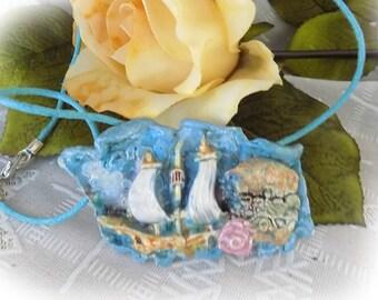 Pirate jewelry - Pirate brooch - Pirate ship brooch - pirate ship jewelry - nautical brooch - pirate  scarf pin - ship brooch - #-58