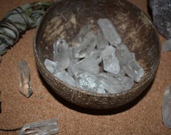 5 Clear quartz points