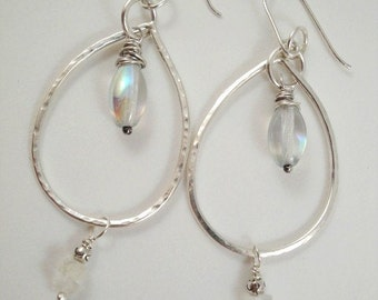 Teardrop hoop earrings with moonstone.  Rustic. Organic. triple rings. Sterling silver. SRAJD. Devine Designs Jewelry. Great gift idea. TBEC