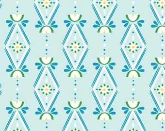 Diamonds Are Forever Light Blue Organic Cotton Fabric