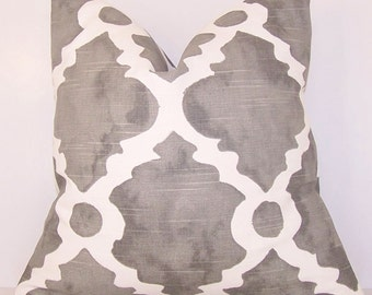 Pillow Cover.Pillow.Toss Pillow.Grey.Grey Pillow Cover.Gray.Trellis Pillow Cover.18x18.20x20.22x22.24x24.Lumbar.Lattice.Quatrefoil