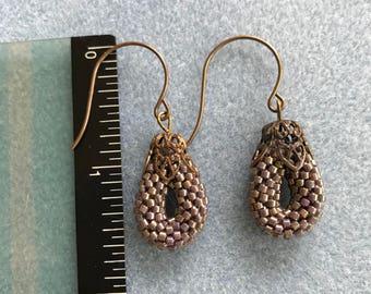 Bead Crochet Rope Earrings with Brass Ear Wires