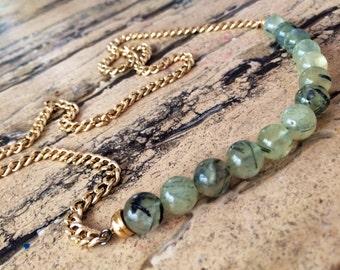 24 inch statement Prehnite necklace.
