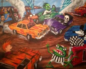 Mutant/Monster Demolition Derby (Original Painting)
