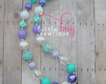 Mermaid Necklace, Unicorn Necklace, Aqua Lavender Necklace, Chunky Necklace, Bubblegum Necklace, Mint Necklace, Cake Smash,  Birthday, Girls