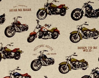 Cosmo Kitami Motorcycles Biker Motorbike Natural Cotton Linen Fabric by Cosmo Tex Japan Japanese Import