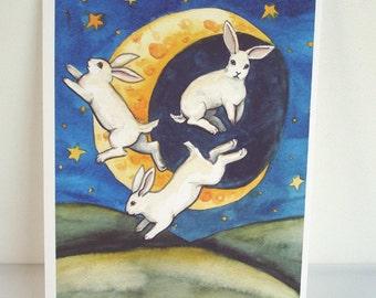 Archival Fine Art Animal Print - Moon Bunnies - Nursery or Children's room Art