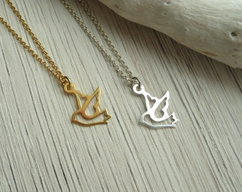 Sterling Silver Swallow Necklace,  Swallow Bird Necklace, Tiny Bird Necklace, Swallow Necklace in Gold, Minimalist Necklace