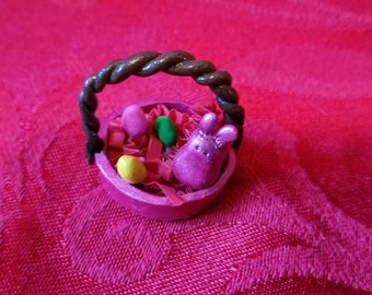 Dollhouse Miniature Easter Basket!!  Hand Sculpted and Hand Painted!!