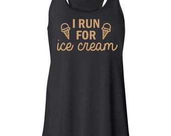 I run for ice cream tank top, exercise tank top, funny tank top, running tank top, TEEddictive