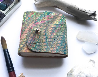 3 x 3 inch Rainbow Multicolored Marbled Leather Watercolor Sketchbook - 72 pages Arches 140lb Hot Press Watercolor Paper -Handtorn Cotton