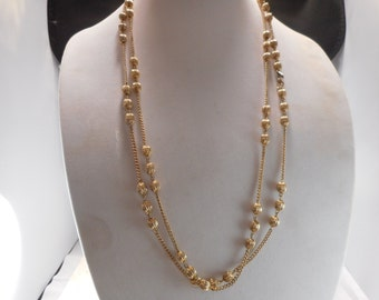 Vintage Monet Long Flapper Chain Necklace with Ribbed Gold Tone Beads '62' inches Long'