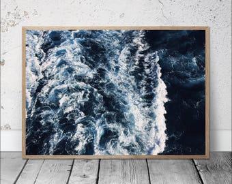 ocean art print, sea waves photography, sea foam wall art, ocean photography, blue sea art decor, nautical decor, modern minimal wall art