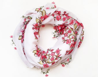 Pink and white floral scarf - Wrap scarf Turkish scarf Floral shawl Spring scarf Square scarf White floral scarf Gift for mother