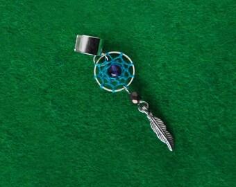 Amethyst ear cuff, Turquoise dreamcatcher earcuff jacket, Gemstone boho jewelry, Ethnic dangle earring, Native american indian dream catcher