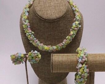3 Piece Glass Parure Pastel Floral Flower Bead Artist Vtg Statement Necklace Bracelet Clip Earrings Jewelry Set