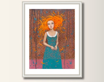 Rapunzel- Picture,art print, print of original acrylic painting , A4 (297 x 210mm), (11.7 x 8.3 in)