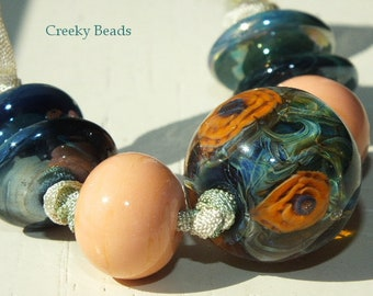 Handmade Lampwork Focal bead - 'Silvered Glass Orange Poppies!' - Creeky Beads SRA