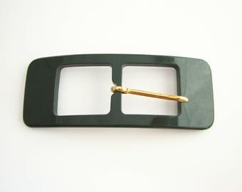 "Green belt buckle, plastic buckle in rectangular shape, for 1"" or 3/4"" belts, unused"