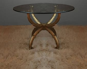 Vintage Gold Hollywood Regency Low Slung Cocktail Table 1950s 50s 1960s 60s mid century