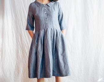 Striped Dress - Short Sleeve Linen Dress - Striped Linen Dress - Linen Dress - Midi Dress - Handmade Dress -  Gingham Dress