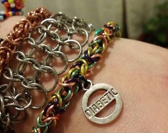 Multicolored Copper Diabetic Chainmaille Bracelet