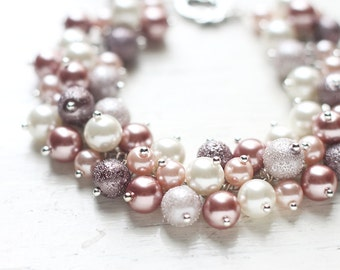 Dusty Pink Bridesmaids Jewelry, Pearl Cluster Bracelet - Romantic Pastel Colors in Ivory and Pink