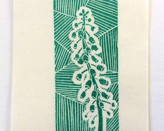 mini linocut - BELL TOWER // 4x6 art print // printmaking // block print // green // grow // flower // original // small // miniature