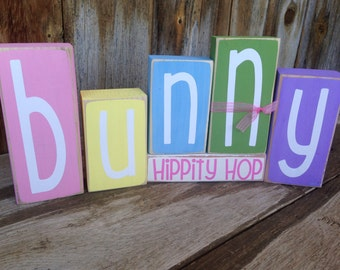 EASTER Bunny- hippity hop blocks holiday stacking wood home decor seasonal blocks - with vinyl lettering