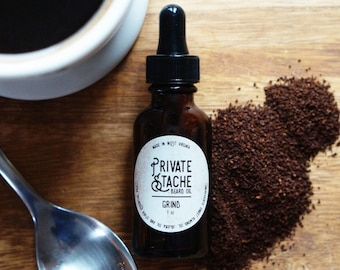 BEARD OIL: Coffee,Beard Conditioner,Private Stache,Grind,Beard Oil,Gifts for Him,Beard Grooming