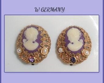 Vintage Signed W GERMANY Filigree Purple Lady CAMEO Rhinestone Faux Pearl Clip Back Earrings