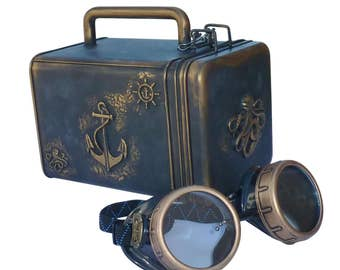 SteAMpunk goggles Nautical Octopus purse with pocket watch gears charm ANchor bag wallet case