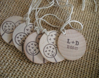 Wedding Favor Tags Personalized Wood Circles Trees with Hearts - Set of 10 - Item 1544
