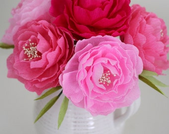 SIX handmade paper peonies,paper peony  for weddings,table decorations and home